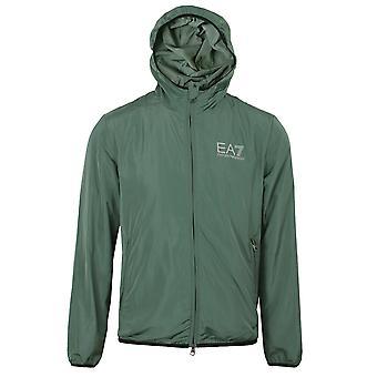 Ea7 emporio armani men's dark forest hooded bomber jacket