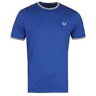 Fred Perry Twin Tippet Ocean Blå Ringer T-skjorte