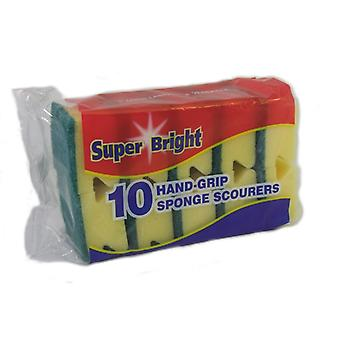 Superbright Hand Grip Sponge Scourers (Pack Of 10)