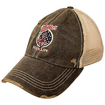 Miller High Life Girl In The Moon Black Verstelbare Mesh Trucker Hat