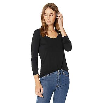 Lark & Ro Women & apos;s Jersey Pima Cotton/Modal Scoop Neck Long Sleeve T-shirt, Bl...