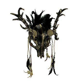 Metallic Tribal Skull Demon Deer with Feathers Adult Halloween Costume Mask