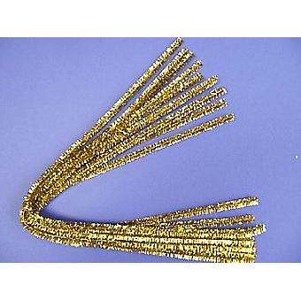 10 Gold 8mm Tinsel Extra Long 50cm Pipe Cleaners | Glitter Pipecleaners