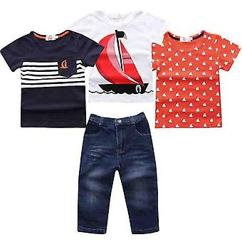 Summer Boys Short Sleeve Tops And Denim Jeans,Infant
