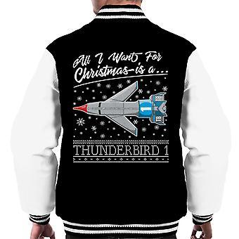 Thunderbirds all I Want For Christmas Is Thunderbird 1 Men's Varsity Jacke