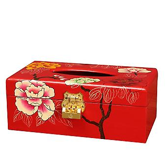 Red Wooden Tissue Container 23x12.5x9cm