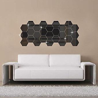 Hexagonal 3d Mirror Wall Stickers 12pcs Set - Restaurant Aisle Floor