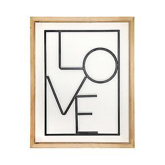 Metal LOVE on White Framed Wall Art