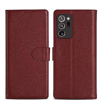 For Samsung Galaxy Note 20 Ultra Case Fashion Genuine Leather Wallet Cover Red
