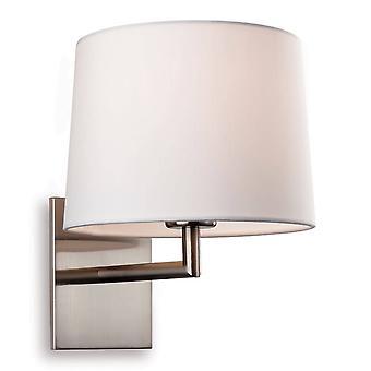 1 Light Single Indoor Wall Light Brussed Steel, Cream Shade, E27