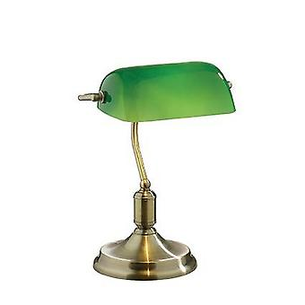 1 Lys Bankør bordlampe Antik Messing med grøn glasskygge, E27