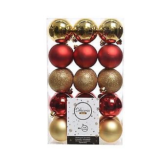 30 6cm Christmas Red and Gold Shatterproof Tree Bauble Selection Pack