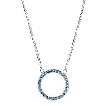 "Dew Sterling Silver Open Circle Blue Cubic Zirconia 17.5"" Necklace 9882BLZ"