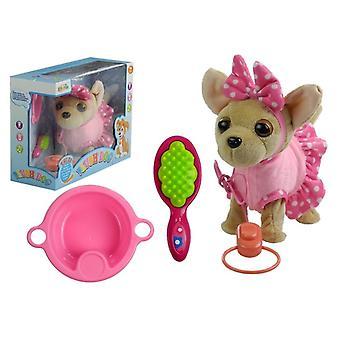 Plush legetøj Chihuahua hund med vand skål, kam & bælte - 24x22x11 cm