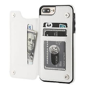 الاشياء المعتمدة® ريترو iPhone 8 الجلود الوجه محفظة حالة - محفظة غطاء كاس حالة الأبيض