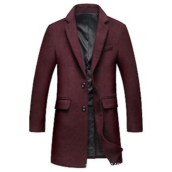 Mænd & apos;s Premium Dobbelt breasted Hak Collar Woolen Pea Over Coat