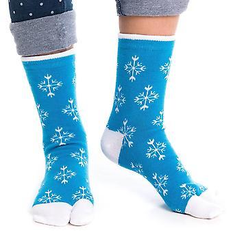 Chaussettes Flip Flop Tabi - Blue Snowflake Pattern-1 Paire