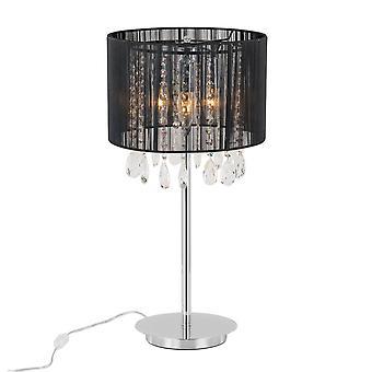 Lámpara de mesa negro 3 luz con negro tela sombra, E14