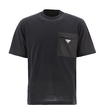 Prada Ujn6611yfhf0002 Men's Black Cotton T-shirt