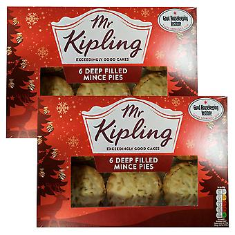 2 x 6 Mr Kipling Deep Filled Mince Pies Cakes Hot Cold Pastry Sweet Butter Sugar