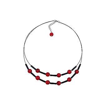 Halskæde røde sorte perler på belagt fleksibel ledning