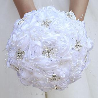 New Wedding Bride Holding Flowers Artificial Bouquet Ribbon Rhinestone Pearl