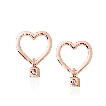 Bella Heart Rose Gold Earrings With 14k Gold Pin
