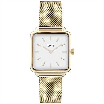 Cluse Cw0101207002 La Tétragone White & Gold Mesh Ladies Watch