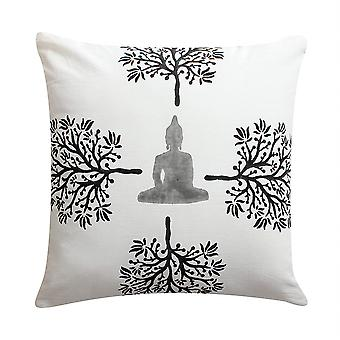 18 X 18 Hand Block Printed Buddha And Trees Cotton Pillow, White And Black