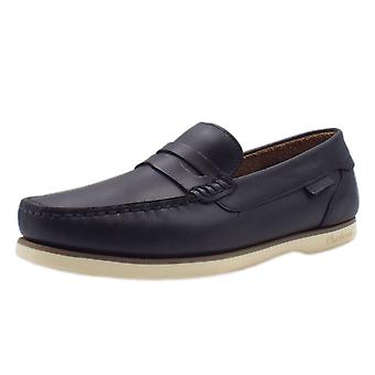 Chatham Faraday Made In Britain Men's Leather Deck Shoes In Navy