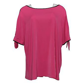Belle Par Kim Gravel Women's Plus Top Split Elbow Sleeve Pink A305581