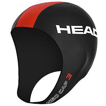HEAD Neo Open Water Swim Cap - Black/Flame- Size L/XL