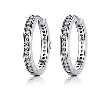 Diamante studded silver hoop earrings