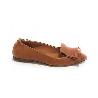 Women's Shoes Elite Ballerina Pointed In Crunchy Brown Leather With Fringe Ds20el04