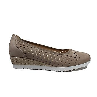Gabor Evelyn 642-31 Taupe Nubuck Leather Womens Slip On Ballet Pump Shoes