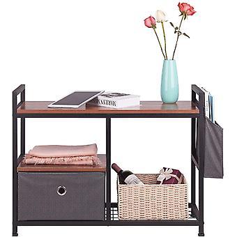 Gerui Shoe Rack Bench, 2 Tier Entryway Shoe Storage Organizer Shelf with Folding Drawer for Entryway,