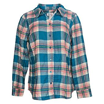 Denim & Co. Women's Top Plaid Button Up Jersey Blue A389003