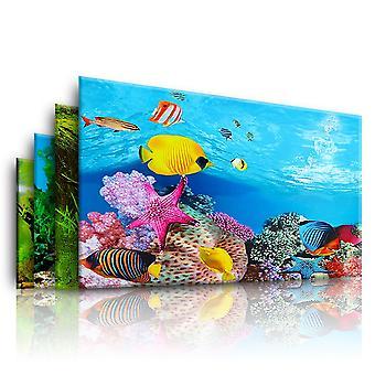 Aquário Paisagismo Adesivo Pôster Tanque de Peixe 3D Fundo Pintura Adesivo Plantas marinhas de lado duplo Cenário Aquário Decor