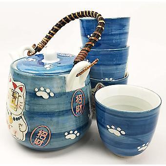 סיר תה קרמי ו כוסות סט