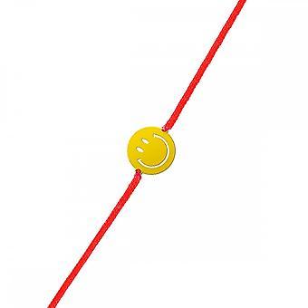 Smiley yellow vermeil cord bracelet and red cord 'apos;Grand Smile'apos;