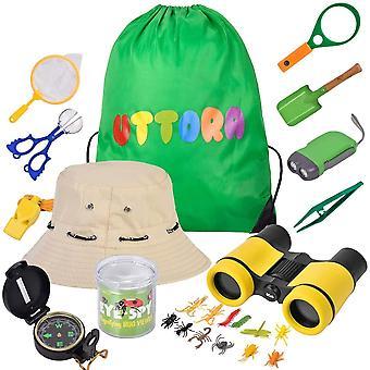 HanFei Spielzeug fr drauen 25 stuck,Draussen Forscherset Kinder fernglas, Taschenlampe, Kompass,Lupe,