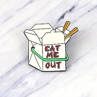 Fast Food Box Emaille Pin, Cartoon Eat Me Broches Button Badge,, Vrienden, Revers