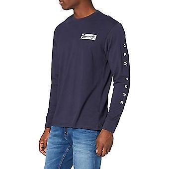 Tommy Jeans Tjm Longsleeve Script Box Tee Shirt, Blå, X-Large Män