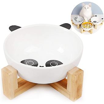 Keramik Fressnapf Set, Keramik Hundenapf,Futternapf Katze mit Bambus Halter,Fressnapf für Hund