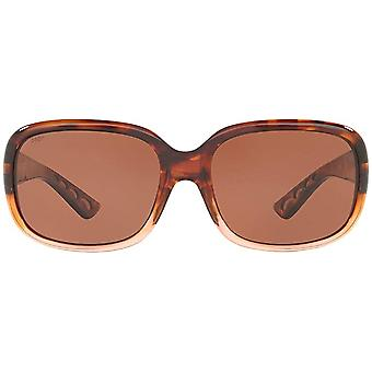 Costa Del Mar Womens Gannet Polarized Rectangular Sunglasses - Shiny Tortoise Fade/Copper - 58 mm