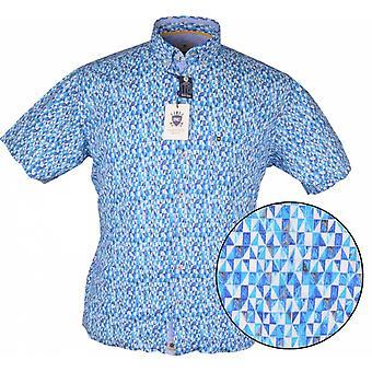HATICO Hatico Mens Big Size Geometric Pattern Print Casual Short Sleeve Shirt