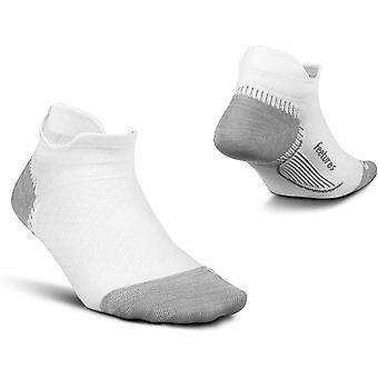 Feetures Plantar Fasciitis Relief No Show Unisex Running Socks, White - Small