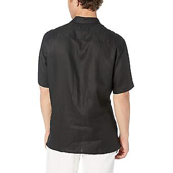 28 Palms Men's Relaxed-Fit Short-Sleeve 100% Linen Embroidered Guayabera Shirt, Natural, Large