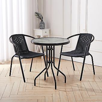 Bistro Patio Table et 2 Chaises Ensemble de Meubles de Salle à Manger - Noir