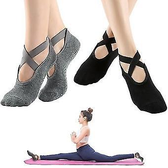 Sokker 4 pakker kvinder skridsikre yoga sokker med stropper til hjemmet indendørs yoga pilates dans ballet